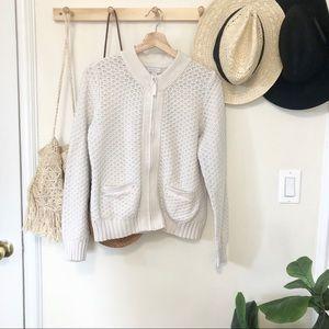 Charter Club cream knit zip up sweater cardigan MP